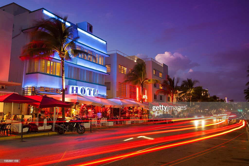 Ocean Drive by the beach in Miami : Stock Photo