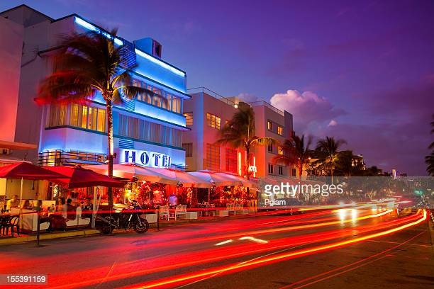 Ocean Drive by the beach in Miami