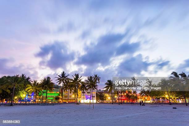 Ocean drive night scene at South Beach, Miami, USA