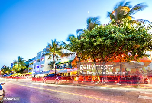 Ocean Drive night scene at South Beach, Miami, USA