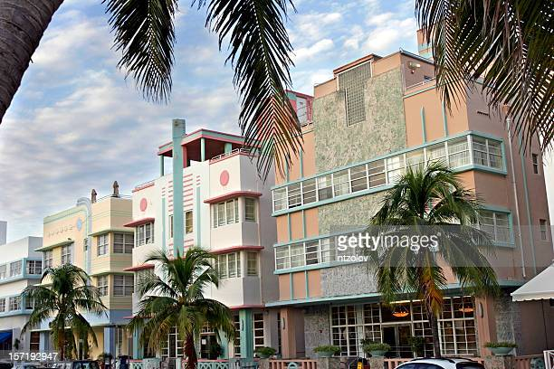 ocean drive - art deco stock pictures, royalty-free photos & images