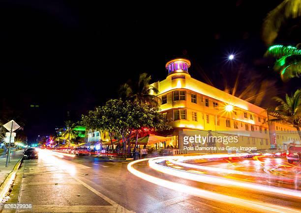Ocean Drive scene at South Beach, Miami, USA.