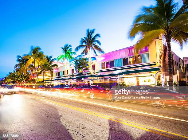 Ocean Drive scene at South Beach, Miami, USA.