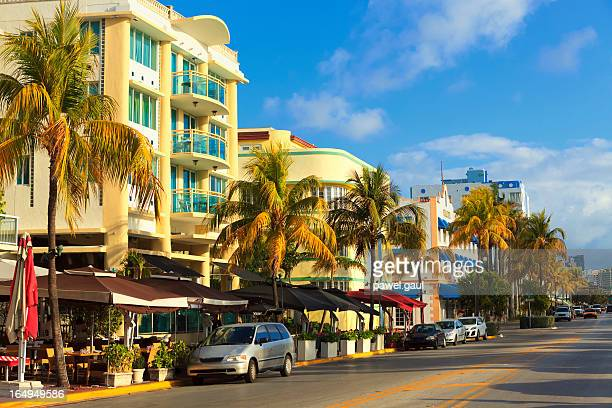 ocean drive street in south beach, fl - downtown miami stock pictures, royalty-free photos & images