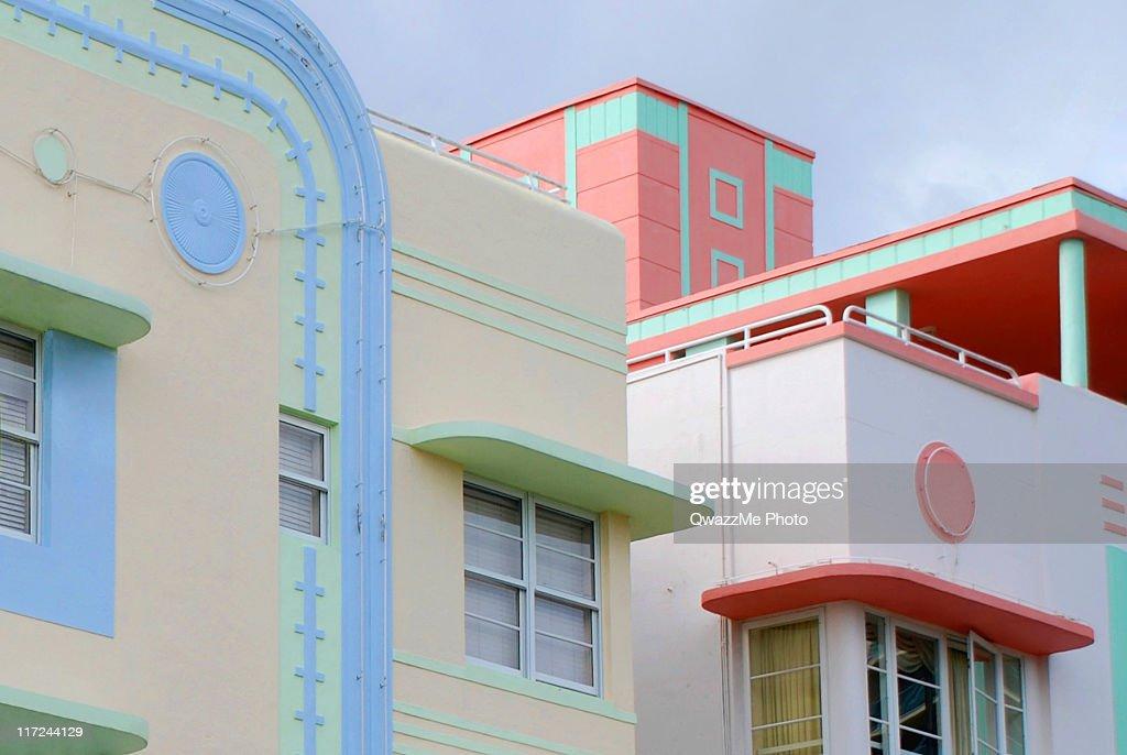 Ocean Drive's Art Deco : Stock Photo