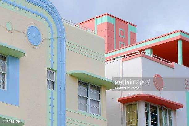 ocean drive's art deco - miami beach stock photos and pictures