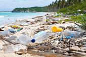 Ocean Dumping - Total pollution on a Tropical beach