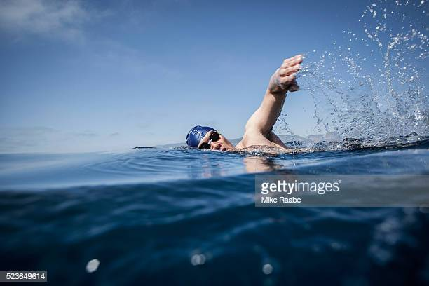 ocean freestyle - freestyle swimming stock pictures, royalty-free photos & images