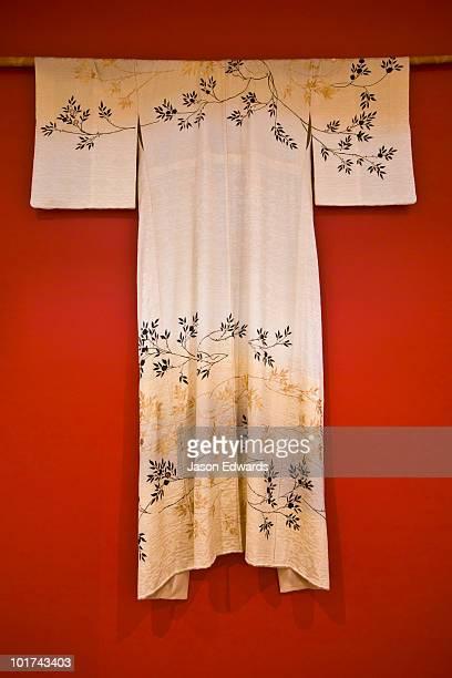 An ornamental Japanese kimono hanging as a wall display.