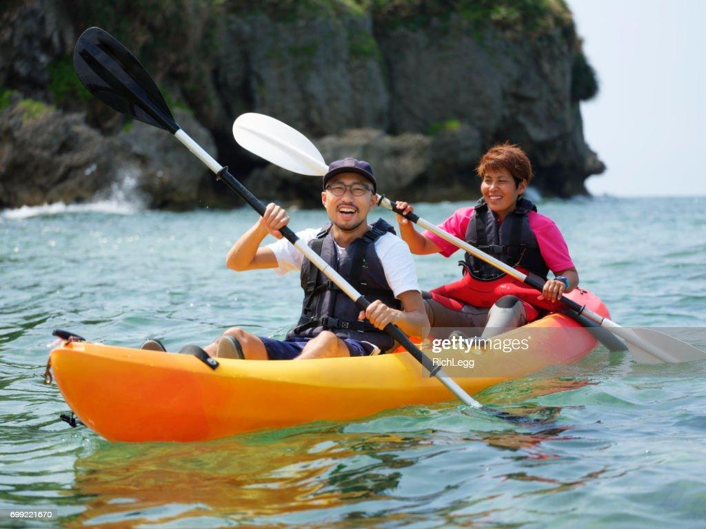 Ocean Kayaking in Okinawa Japan : Stock Photo