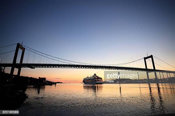 Ocean liner leaving Gothenburg