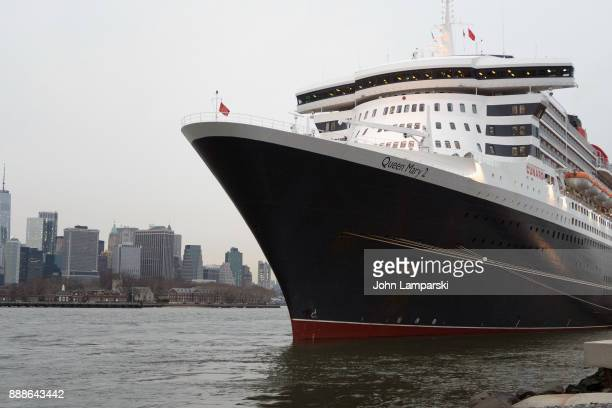 """Ocean liner Queen Mary 2 is seen in port during the """"The Greatest Showman"""" World Premiere aboard the Queen Mary 2 at the Brooklyn Cruise Terminal on..."""