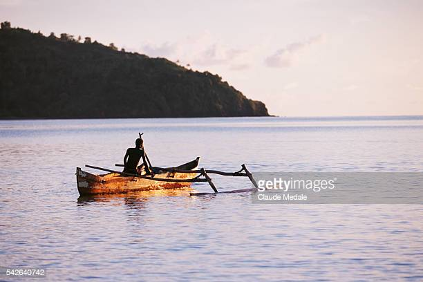 Ocean outrigger canoe off of Mayotte
