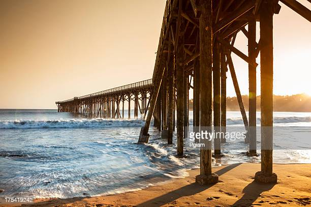 ocean pier into the sea - monterrey stock pictures, royalty-free photos & images