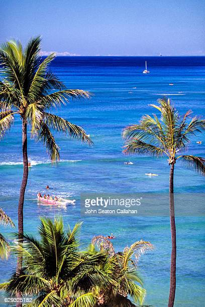 ocean recreation at canoe's - waikiki stock pictures, royalty-free photos & images