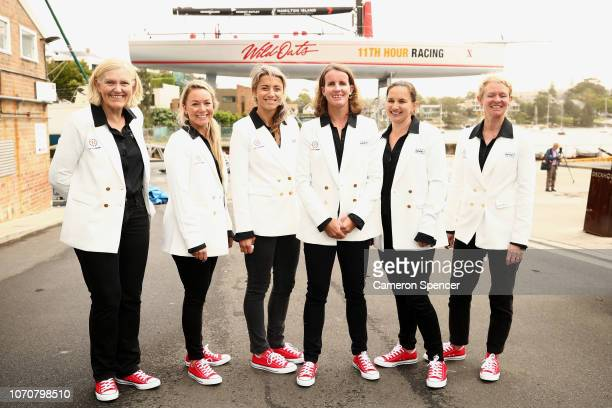 'Ocean Respect Racing' Skipper Stacey Jackson poses with her crew during an announcement of their yacht Wild Oats X and allfemale team in the...