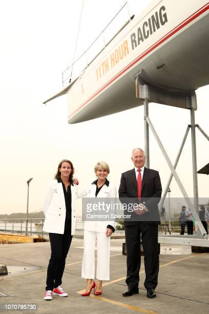 'Ocean Respect Racing' Skipper Stacey Jackson poses with the Honourable Julie Bishop MP and owner of Wild Oats X Sandy Oatley on November 22 2018 in...