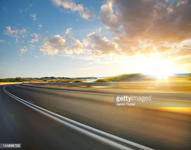 Ocean road at sunset