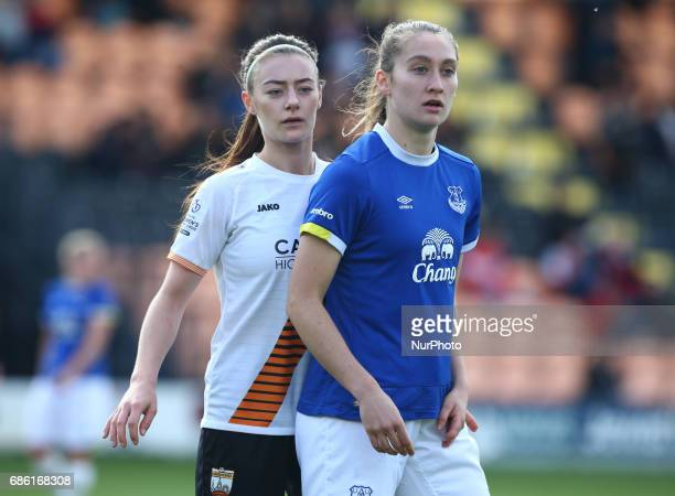 LR Ocean Rolandsen of London Bees and Claudia Walker of Everton Ladies during Women's Super League 2 Spring Series match between London Bees against...