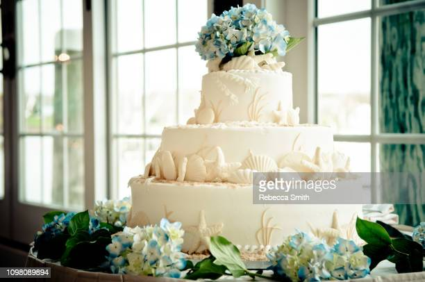 ocean themed wedding cake - wedding cake foto e immagini stock