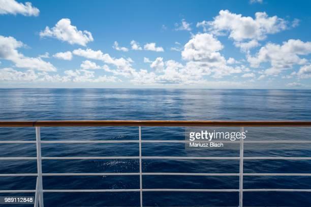 ocean view - geländer stock-fotos und bilder
