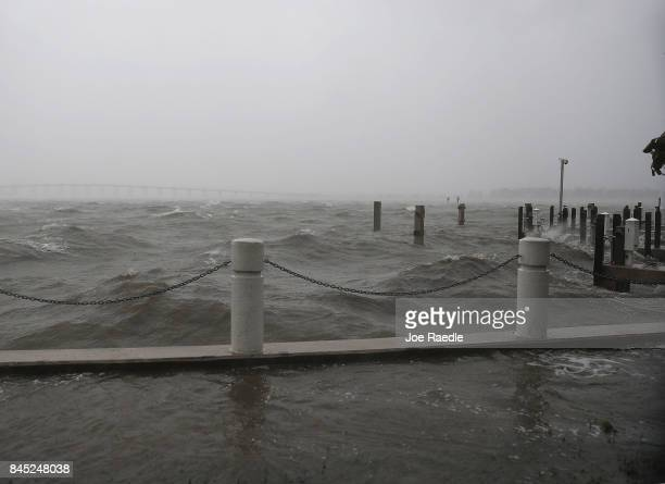 Ocean water churns as Hurricane Irma arrives on September 10 2017 in Miami Florida Hurricane Irma made landfall in the Florida Keys as a Category 4...