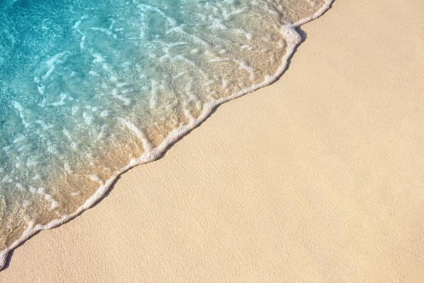 Ocean Wave On Sandy Beach Background