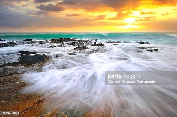 Ocean wave with the sun light