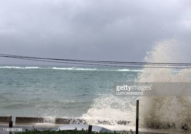 Ocean waves are seen during the approach of Hurricane Dorian on September 1, 2019 in Nassau, Bahamas. - Hurricane Dorian strengthened into a...