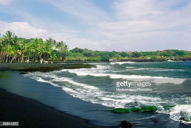 Ocean waves breaking on the Black Sand Beach, Big Island, Hawaii, USA