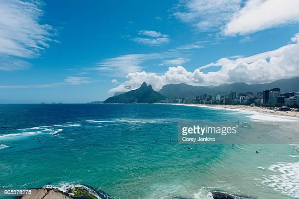 Ocean waves lapping the coastline, Ipanema Beach, Rio de Janeiro, Brazil