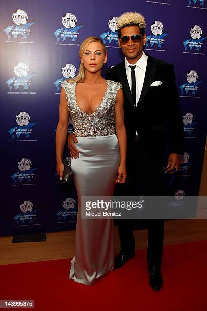 Oceana Basilio and Abel Xavier attend the 'World Football Gala 2012' on May 7 2012 in Barcelona Spain