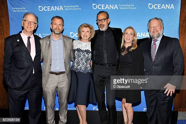 Oceana CEO Andrew Sharpless honoree Dr Kristian Parker Violaine Bernbach Jeff Goldblum Susan Cohn Rockefeller and David Rockefeller Jr attend the...