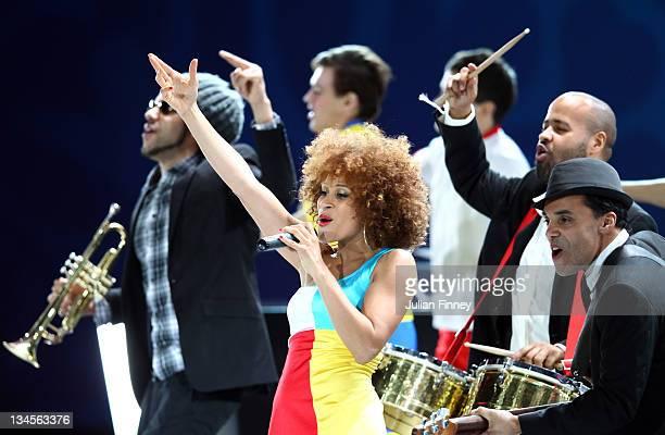 Oceana perform during the UEFA EURO 2012 Final Draw Ceremony on December 2 2011 in Kiev Ukraine