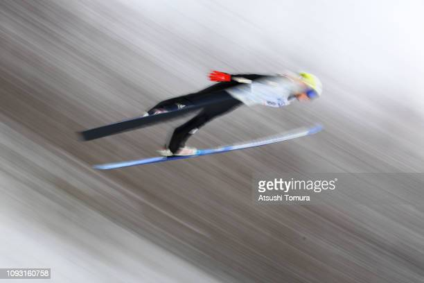 Oceane Avocat Gros of France competes on day one of the FIS Ski Jumping World Cup Ladies Sapporo at Okurayama Jump Stadium on January 12 2019 in...