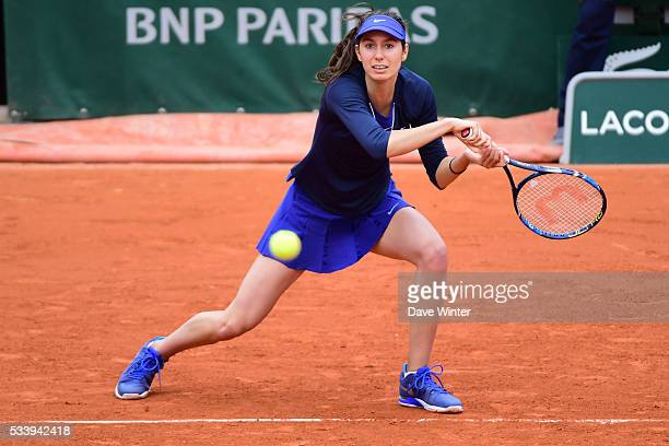 Oceane Dodin during the Women's Singles first round on day three of the French Open 2016 at Roland Garros on May 24 2016 in Paris France