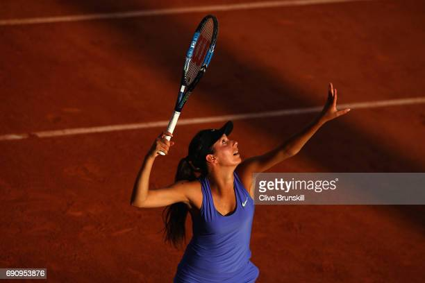 Oceane Dodin of France serves during the ladies singles second round match against Svetlana Kuznetsova of Russia on day four of the 2017 French Open...
