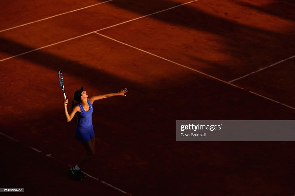Oceane Dodin of France serves during the ladies singles second round match against Svetlana Kuznetsova of Russia on day four of the 2017 French Open at Roland Garros on May 31, 2017 in Paris, France.