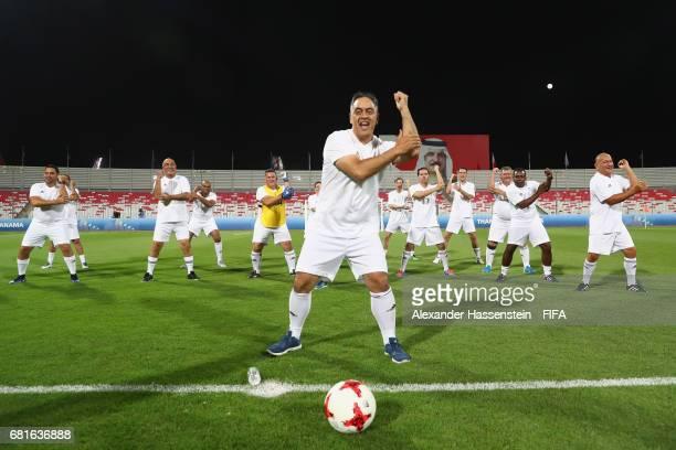 Oceania Football Confederation General Secretary Nicholas Tai performes a haka with his team prior to the FIFA Football Tournament ahead of the 67th...