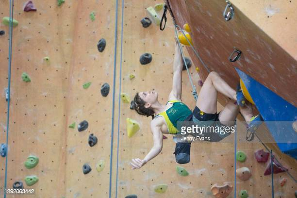 Oceania Mackenzie of Australia competes in the Lead event during the Sport Climbing Olympic Qualifications at Sydney Indoor Climbing Gym on December...