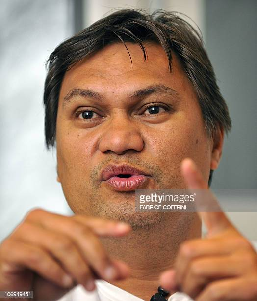 Oceanian football chief and FIFA vice president Reynald Temarii gestures during an interview with AFP on November 18 2010 in Zurich FIFA suspended...