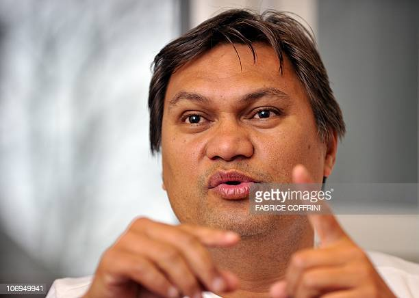 Oceanian football chief and FIFA vice president Reynald Temarii looks on during an interview with AFP on November 18 2010 in Zurich FIFA suspended...