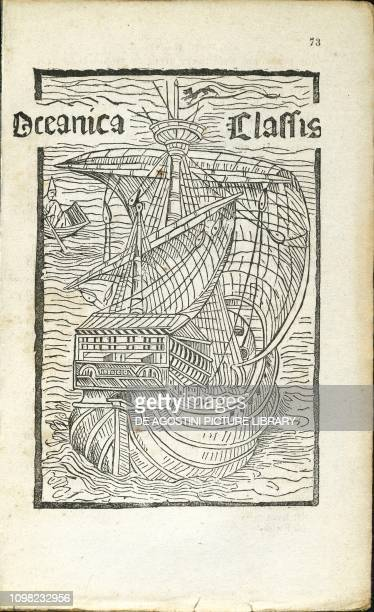 Oceanica classis de insulis inventis caravel engraving from a letter of Christopher Columbus to the Spanish treasurer Raphael Sanchez 1493
