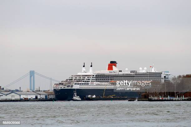 """Oceanliner Queen Mary 2 is seen in port during the """"The Greatest Showman"""" World Premiere aboard the Queen Mary 2 at the Brooklyn Cruise Terminal on..."""