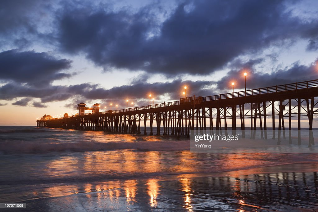 Oceanside California Beach Pier Evening Sunset Stock Photo