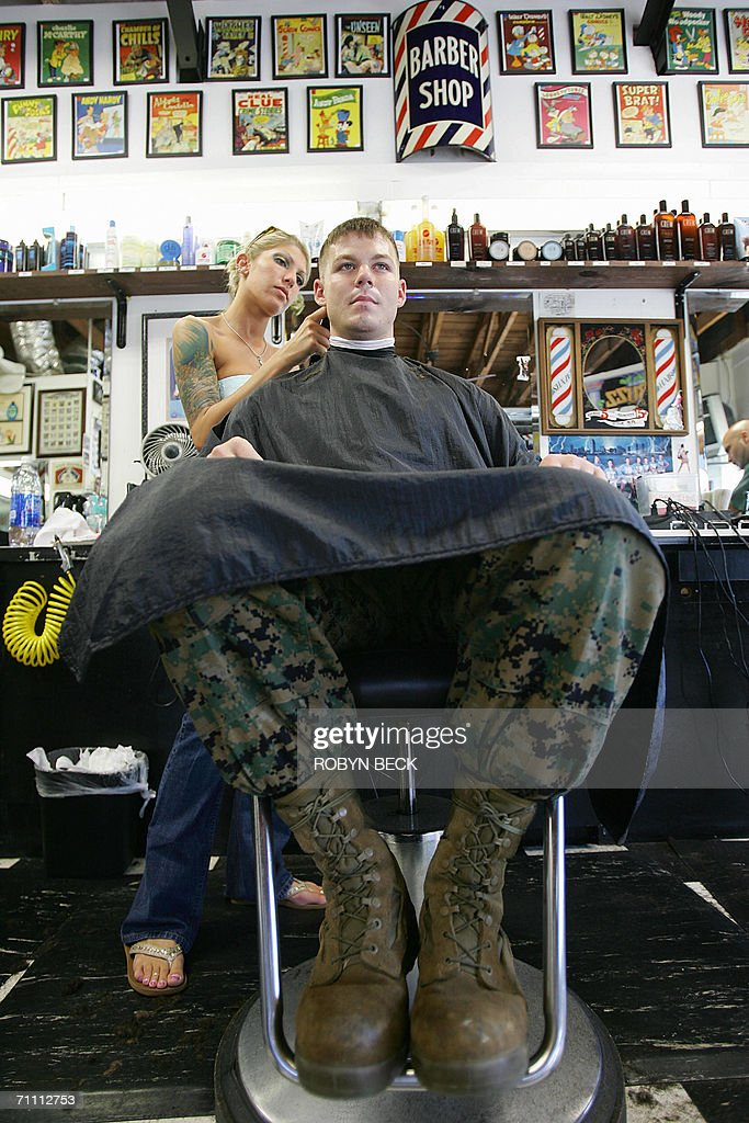 Marine Lance Corporal Junior Cooper Gets A Haircut From Andrea