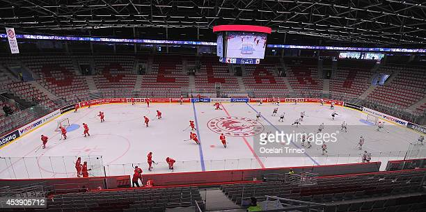 Ocelari Trinec and SC Bern players warm up prior to the Champions Hockey League group stage game between HC Ocelari Trinec and SC Bern on August 21...