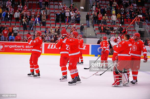 Ocelari Trinec celebrate during the Champions Hockey League group stage game between HC Ocelari Trinec and SC Bern on August 21 Trinec, Czech...