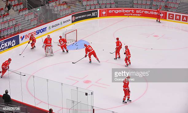 Ocelari Trinec players warm up prior to the Champions Hockey League group stage game between HC Ocelari Trinec and SC Bern on August 21 Trinec, Czech...