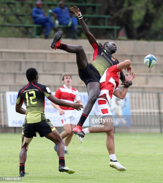 Ocen Levis of Uganda challenged by Naigrot Florian of Mauritius during the 2019 Rugby Africa Mens 7s match between Uganda and Mauritius at the Bosman...